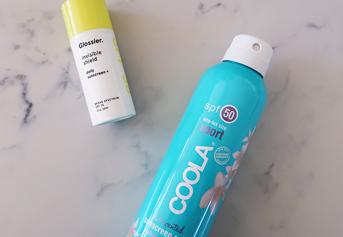 a style caddy, glossier, glossier invisible shield, glossier invisible shield review, coola, coola sunscreen spray, coola sunscreen spray review, spf 35, spf 50, the best spf for every day
