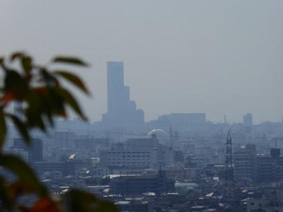 四條畷神社から大阪の町並みを眺める あべのハルカス