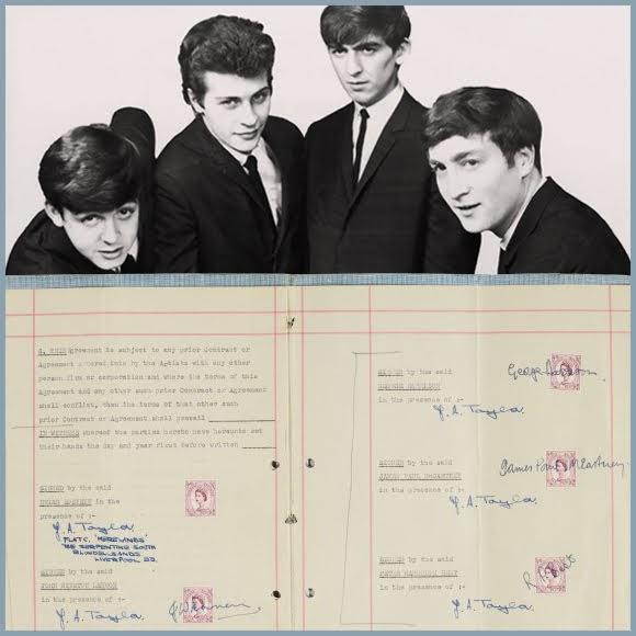 Premier contrat entre Brian Epstein et les Beatles vendu 306 000 euros