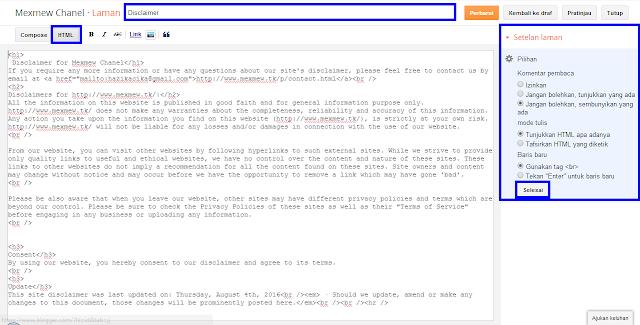 Cara Membuat Disclaimer Untuk Blog -