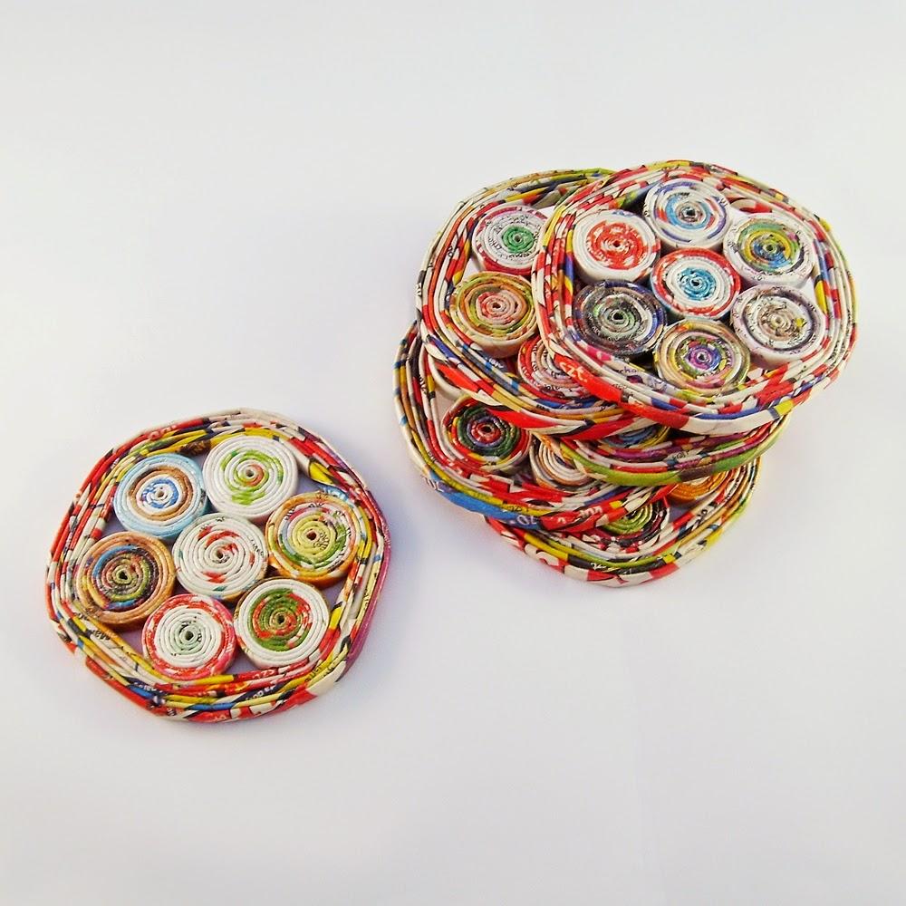 recyklingowe podkładki, wyplatanki