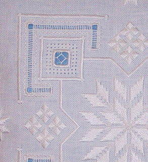 detail of some of the stitching on the Scintillating Snowflake cushion