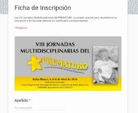 Ficha Inscripción Octavas Jornadas Multidisciplinarias Prematuro