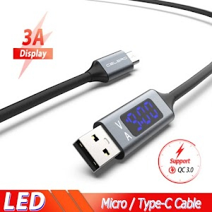 LED Digital Display Micro USB Type C Cable 3A Fast Quick Charge QC3.0