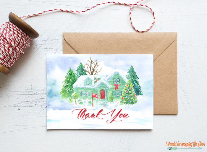 Watercolor Christmas Thank You Cards