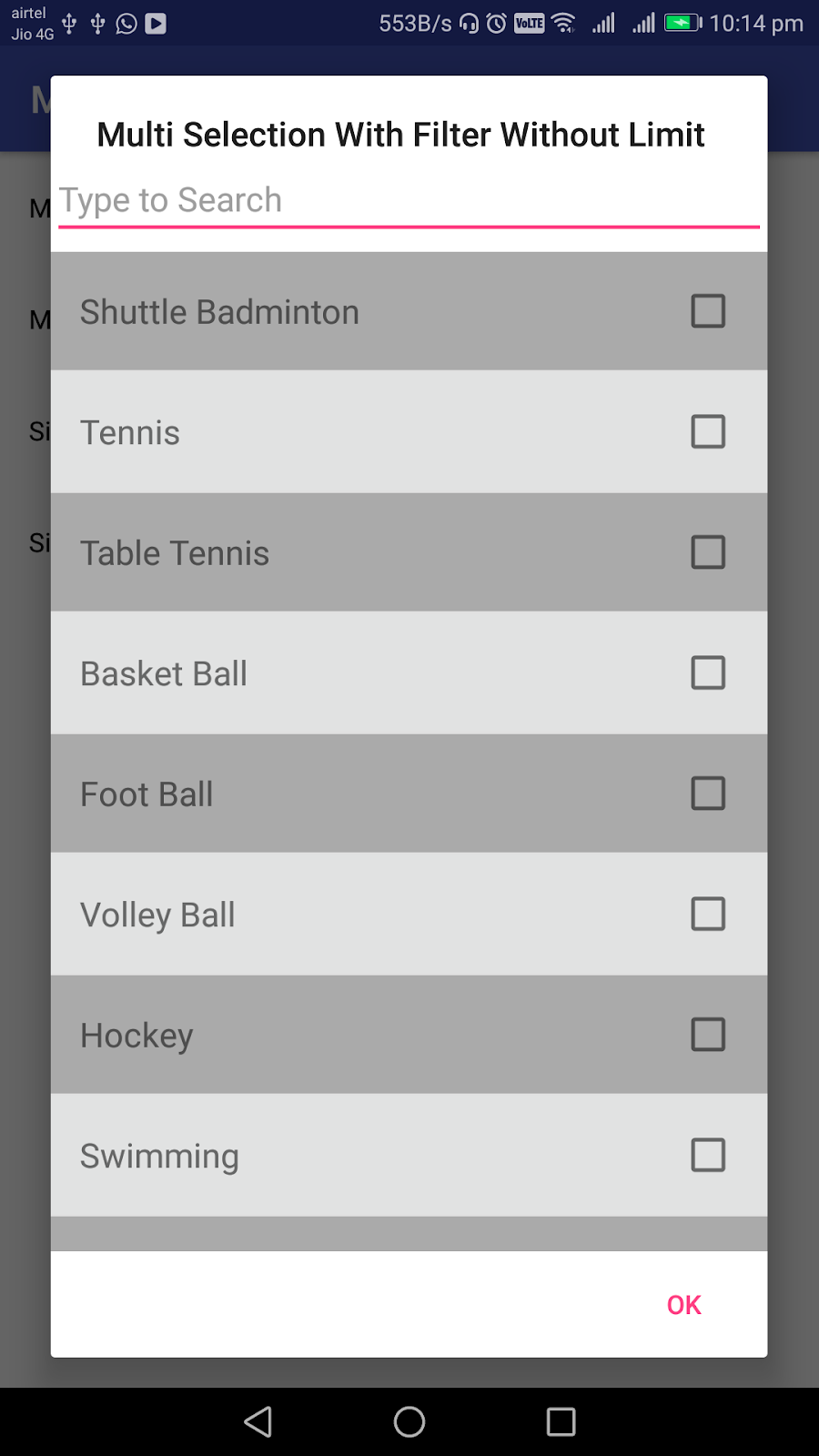 Android Examples Multiple Selection Using Checkbox With