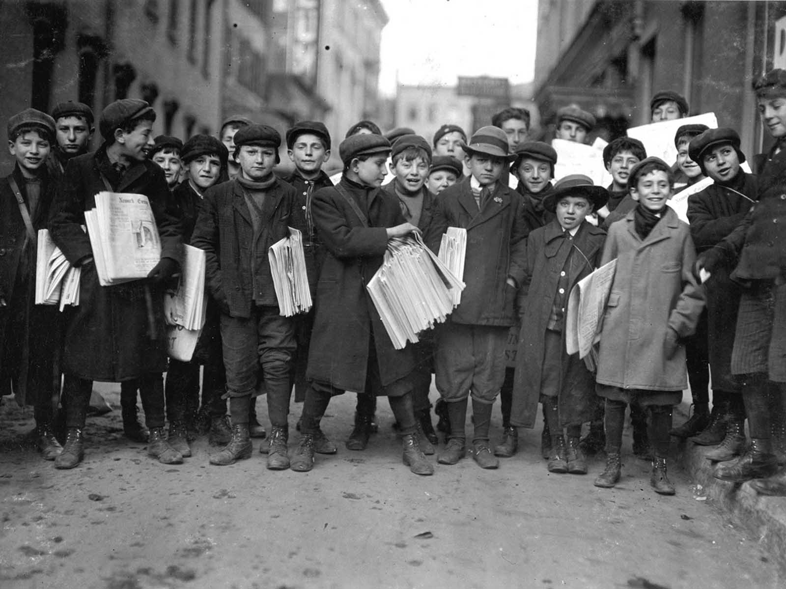 Some of Newark, New Jersey's newsies, in December of 1909.
