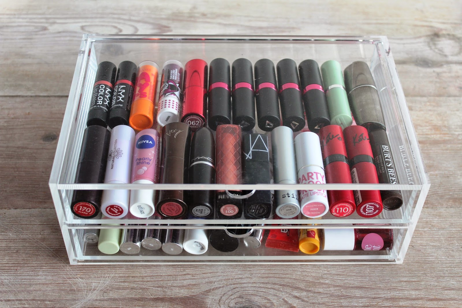 muji drawers swatches organisation lipsticks lips make up balm products rimmel maybelline the body shop stila mac revlon natural collection burts bees kate moss nars clinique thebalm benefit chubby stick coralista loccitane lush scrub hand cream seventeen vivo cosmetics