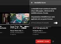 Youtube con sfondo nero attivando la modalità scuro