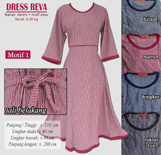 Dress reva dress modis bahan denim dengan motif salur