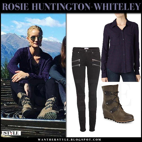 Rosie Huntington-Whiteley in purple plaid shirt paige denim trudy and suede Sorel wedge boots joan of arctic what she wore
