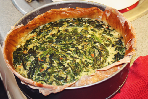 low calorie low fat Spinach, Feta & Red Pepper Filo Quiche in a baking tin, just out of the oven