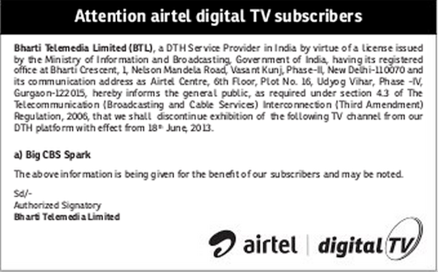 Big CBS Spark Channel is Going to Be Discontinue from Airtel Digital TV DTH