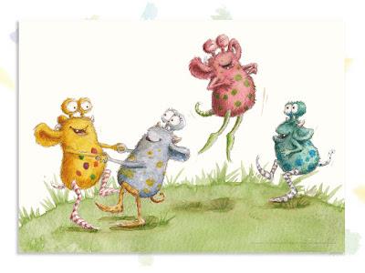 Kinderbuchillustration, Tanz, Monster, niedlich, Pumpf, Loni lacht!, Kinderbuch, Glück, Resilienz, glücklich sein, Kindergarten, Vorschule