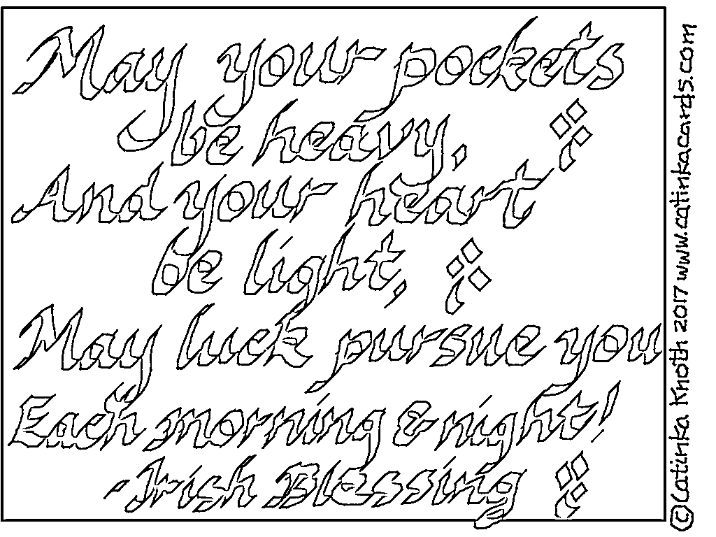 CKNotes 4: Irish blessing to color for St. Patrick's day