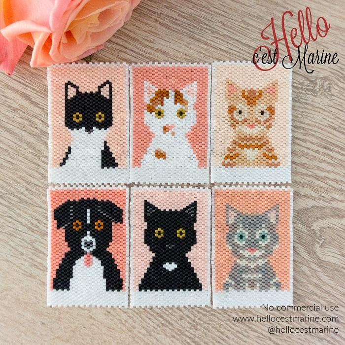 Animaux, chats et chien, diagrammes pour tissages en perles Miyuki delicas 11/0, par Hello c'est Marine
