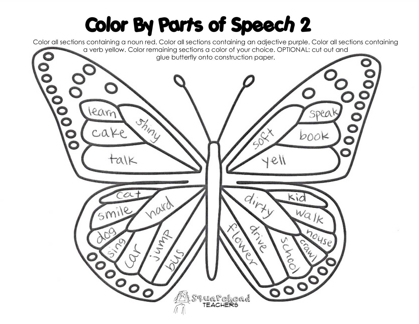 Parts Of Speech Color Activity Nouns Verbs Adjectives