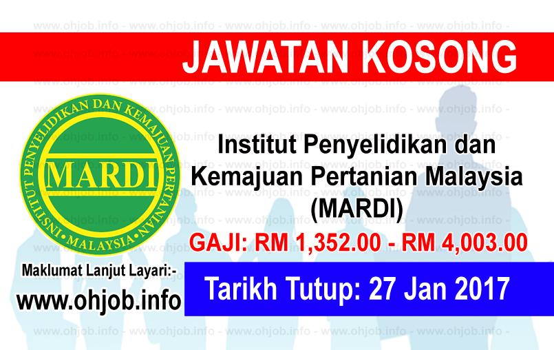 Jawatan Kerja Kosong Institut Penyelidikan dan Kemajuan Pertanian Malaysia (MARDI) logo www.ohjob.info januari 2017