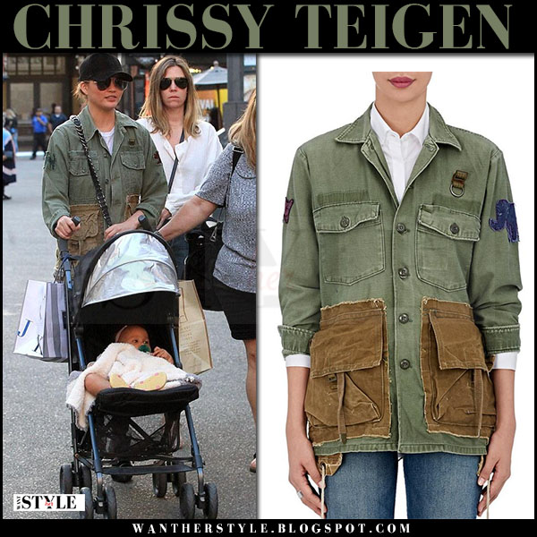 Chrissy Teigen in green cotton jacket ottotredici what she wore march 2017