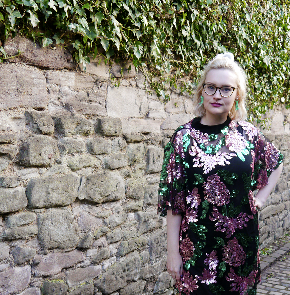 Floral sequin cupid swing dress by isolated heroes, as worn by style blogger wardrobe conversations in Dundee