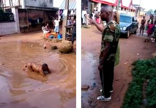Soldiers Order Man To Swim In Mud Water