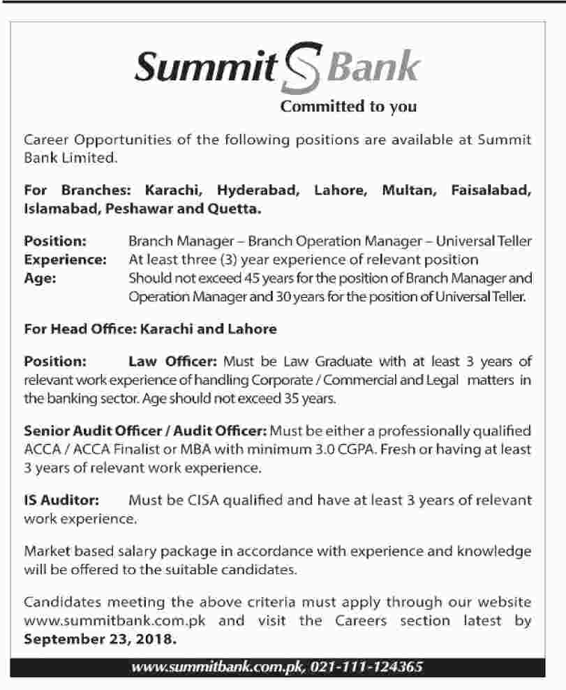 Latest Vacancies Announced in Summit Bank Limited 17 September 2018