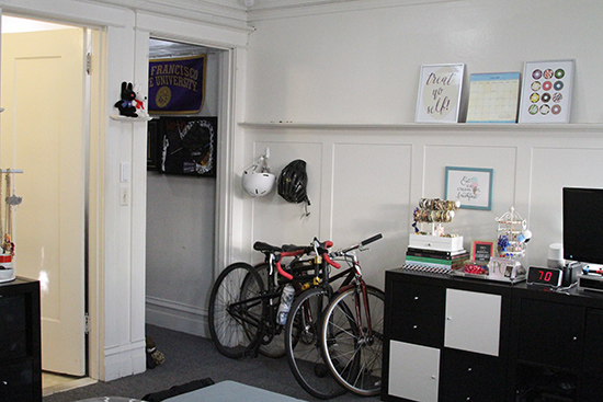 Will Bake for Shoes | Studio Apartment Bike and Helmet Storage
