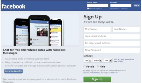 facebook sign up create new account