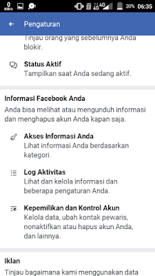Log Aktivitas FB Lite