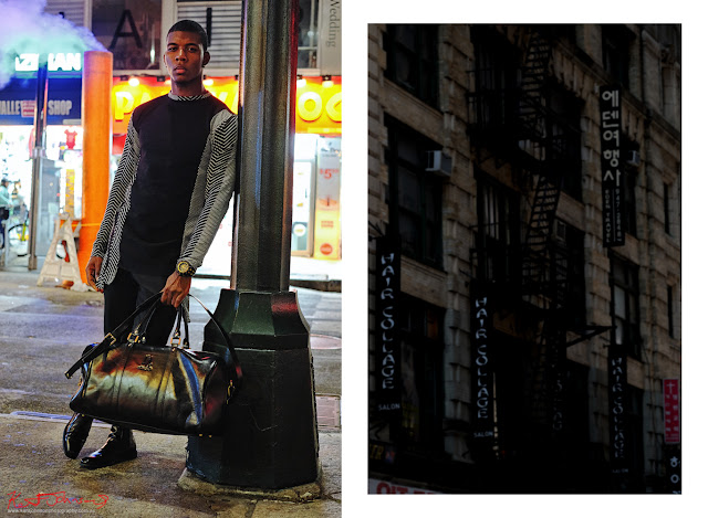 Longsleeve tee from the versed capsule collection, street scene with road steam and neon signs. Image paired with NY fire stairs and Korean signage. Menswear photographed in New York City by Kent Johnson.