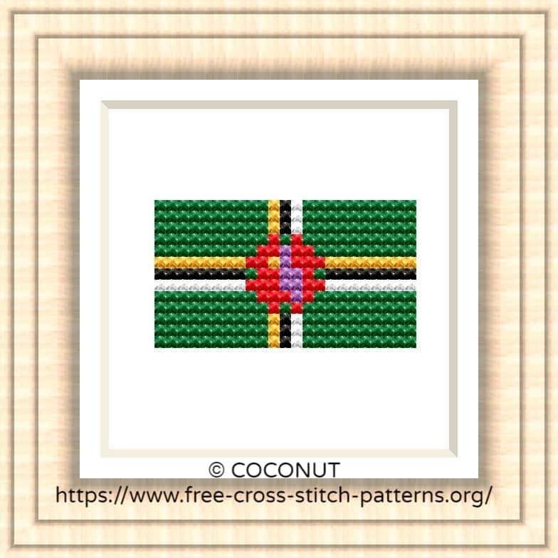NATIONAL FLAG OF DOMINICA CROSS STITCH CHART