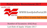 West Bengal Postal Circle Recruitment 2017– 4982 Gramin Dak Sevak (GDS)