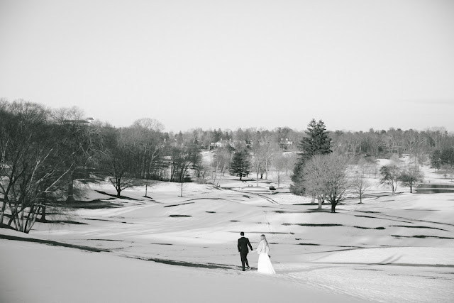 The bride and groom before their wintery Willow Ridge Country Club Wedding | Karen Hill Photography