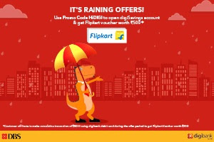 Get Flipkart voucher worth Rs. 500 on spend of Rs. 5000 using digibank debit card (FlipKart LOOT)