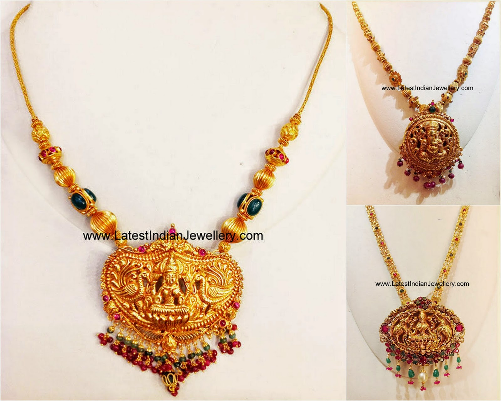 Simple Temple Jewellery Necklace Designs Latest Indian