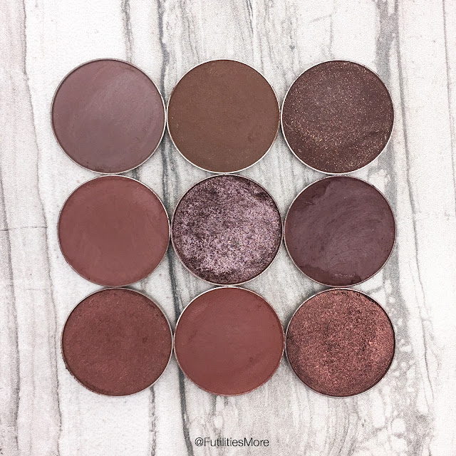 Makeup Geek deep dark brown eyeshadows, Brownie Points, Mocha, Bada Bing, Wild West, Mesmerized, Americano, Brown Sugar, Cabin Fever, Steampunk