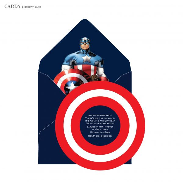 Online Invitation Cards Captain America Kids Birthday Cards
