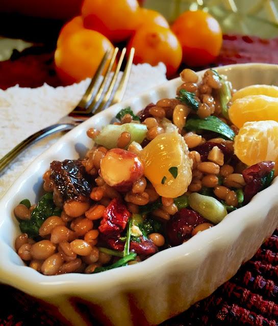 Salad served room temperature. wheat berry wheatberry wheat-berry, tangerine, maple vinaigrette