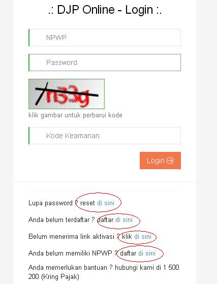 Form login lapor pajak online