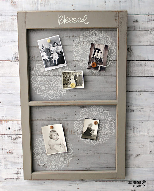 Old Window Screen Repurposed as Photo Display #stencil #repurpose #upcycle