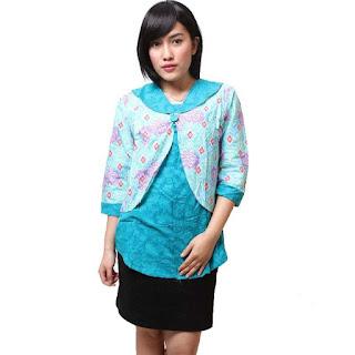 Contoh Model Baju Batik Kantor Wanita Kombinasi