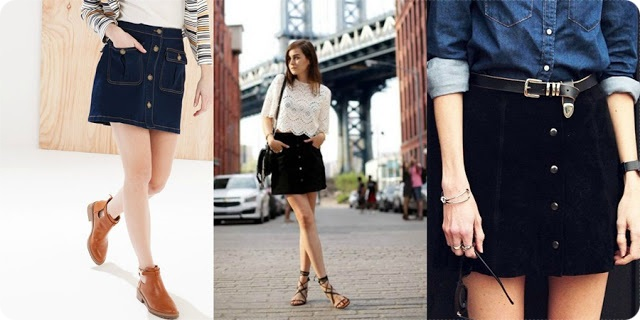 looks com saia jeans de botão na frente