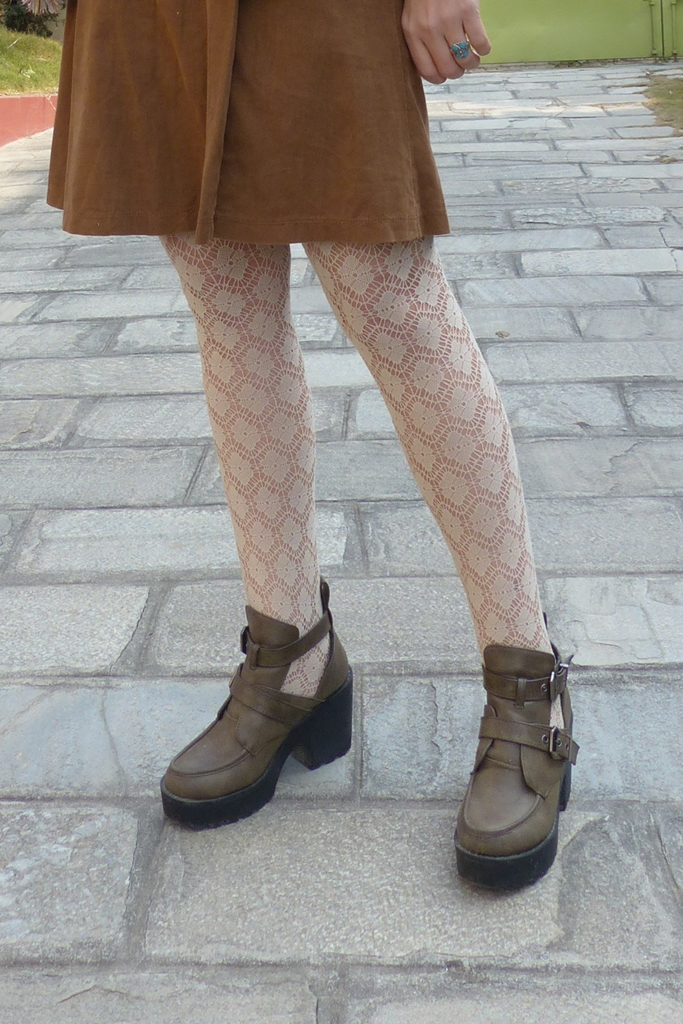 Corduroy skirt, lacy tights and chunky shoes
