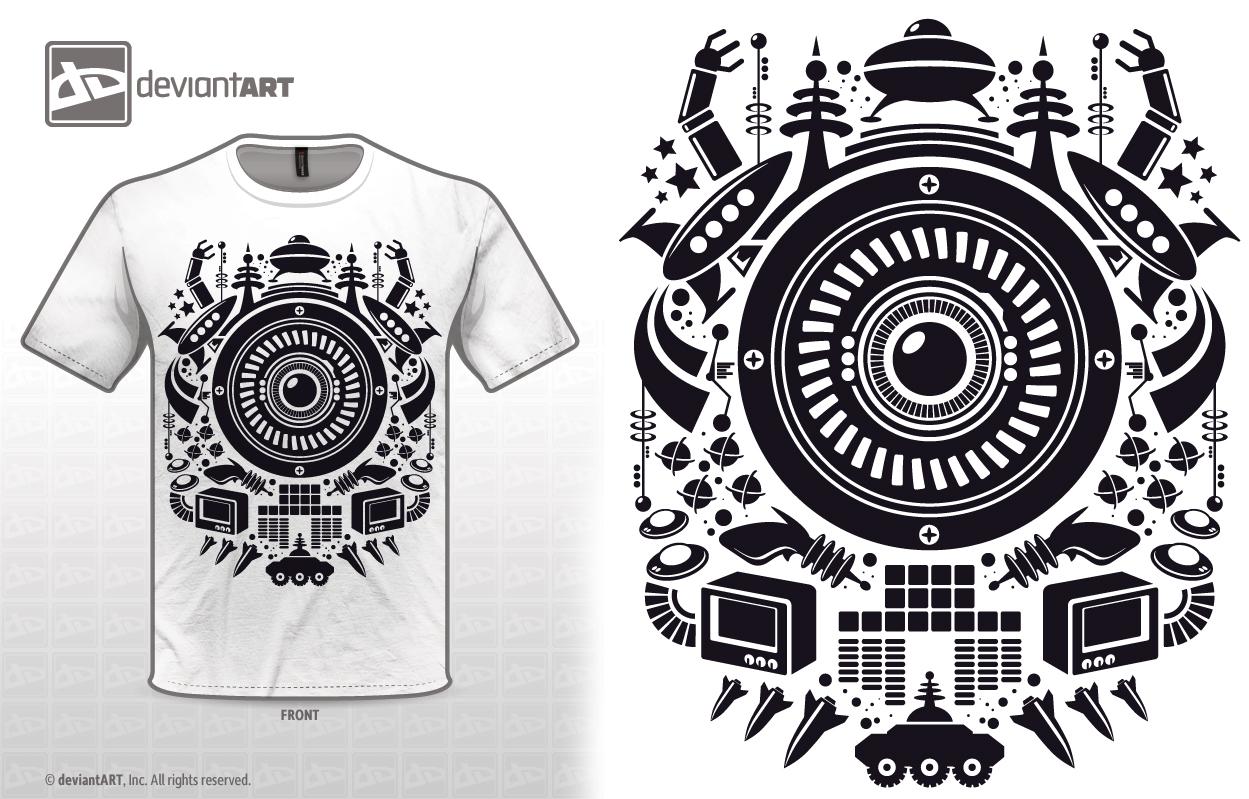 647490a8a Retro Future T-shirt Design   Orbital Vector Grid