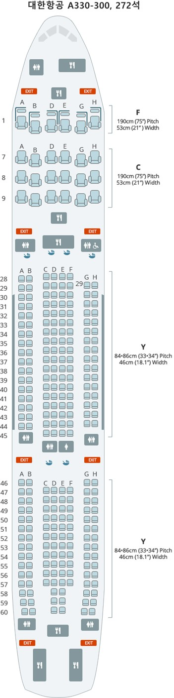대한항공 A330-300, 272석
