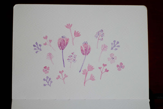 Watercolor: Simple Flowers and Leaves