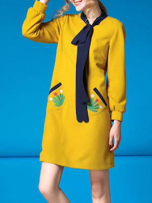 Yellow shades trend - Yellow H-line Girly Bow Mini Dress from FAN SHANG - Price:$62.00