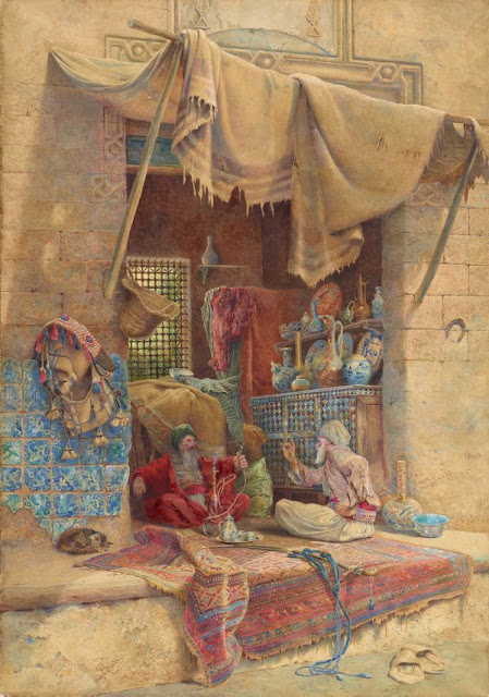 "Artwork, XIX century art, watercolours, ""Bazaar gossip"" by Charles Robertson, 1886."