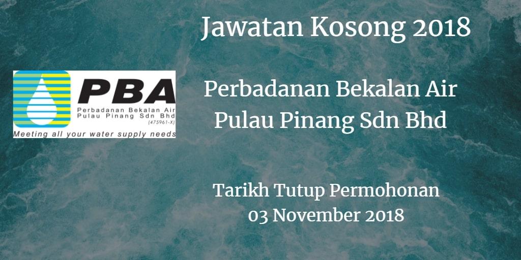 Jawatan Kosong Perbadanan Bekalan Air Pulau Pinang Sdn Bhd 03 November 2018
