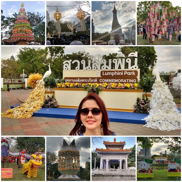 Várias imagens do Parque Lumpini, em Bangkok.